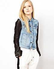 Rag &amp; Bone Denim Jacket With Leather Arm Detail