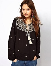 River Island Embroidered Kaftan Top