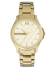 Armani Exchange Gold Watch With Diamond Print Face