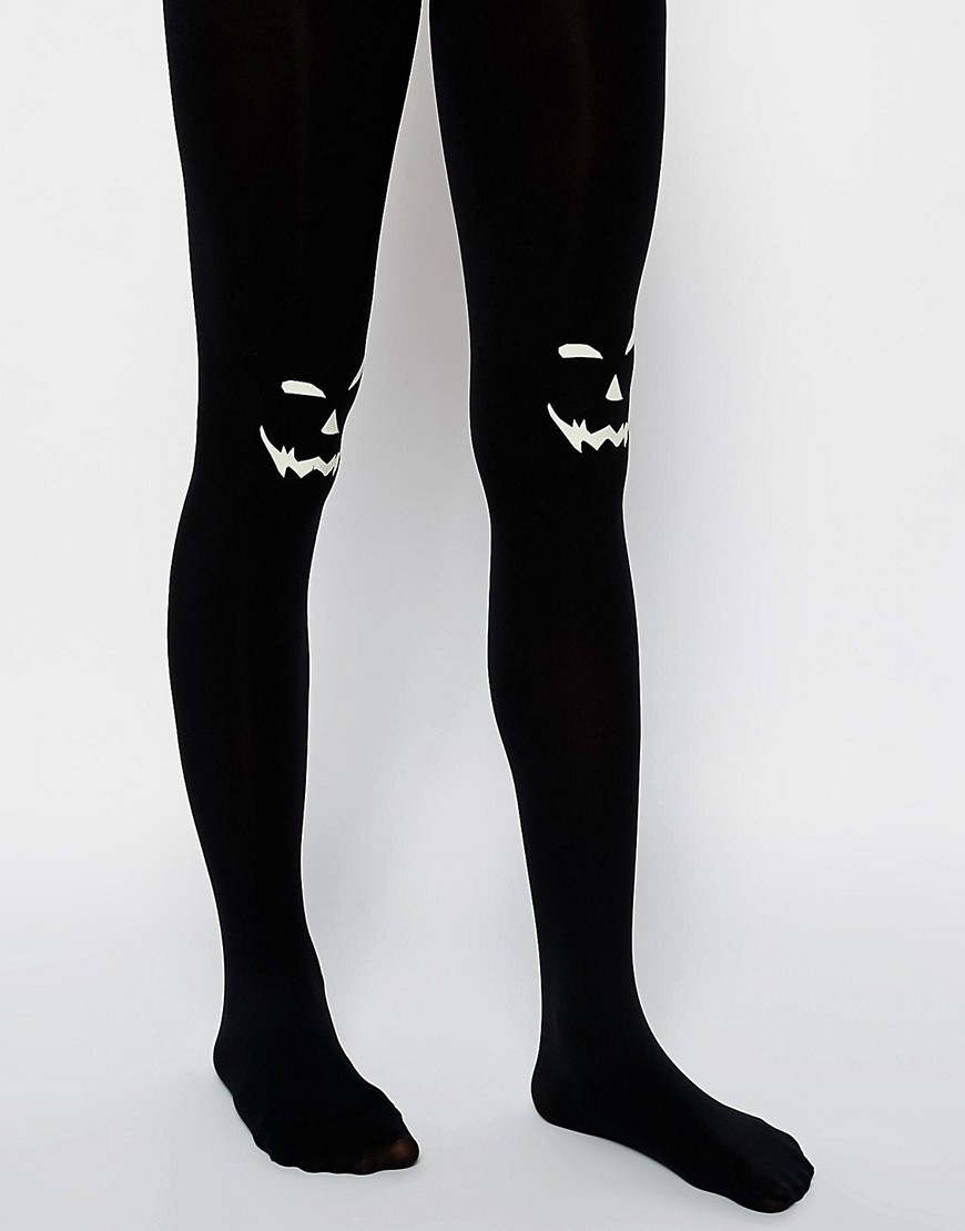 Image 1 of ASOS Halloween Pumpkin Tights Glow In The Dark Detail