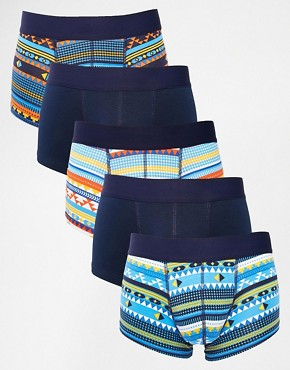 ASOS 5 Pack Hipster With Aztec