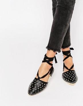 ASOS JANELLE Studded Tie Leg Espadrilles