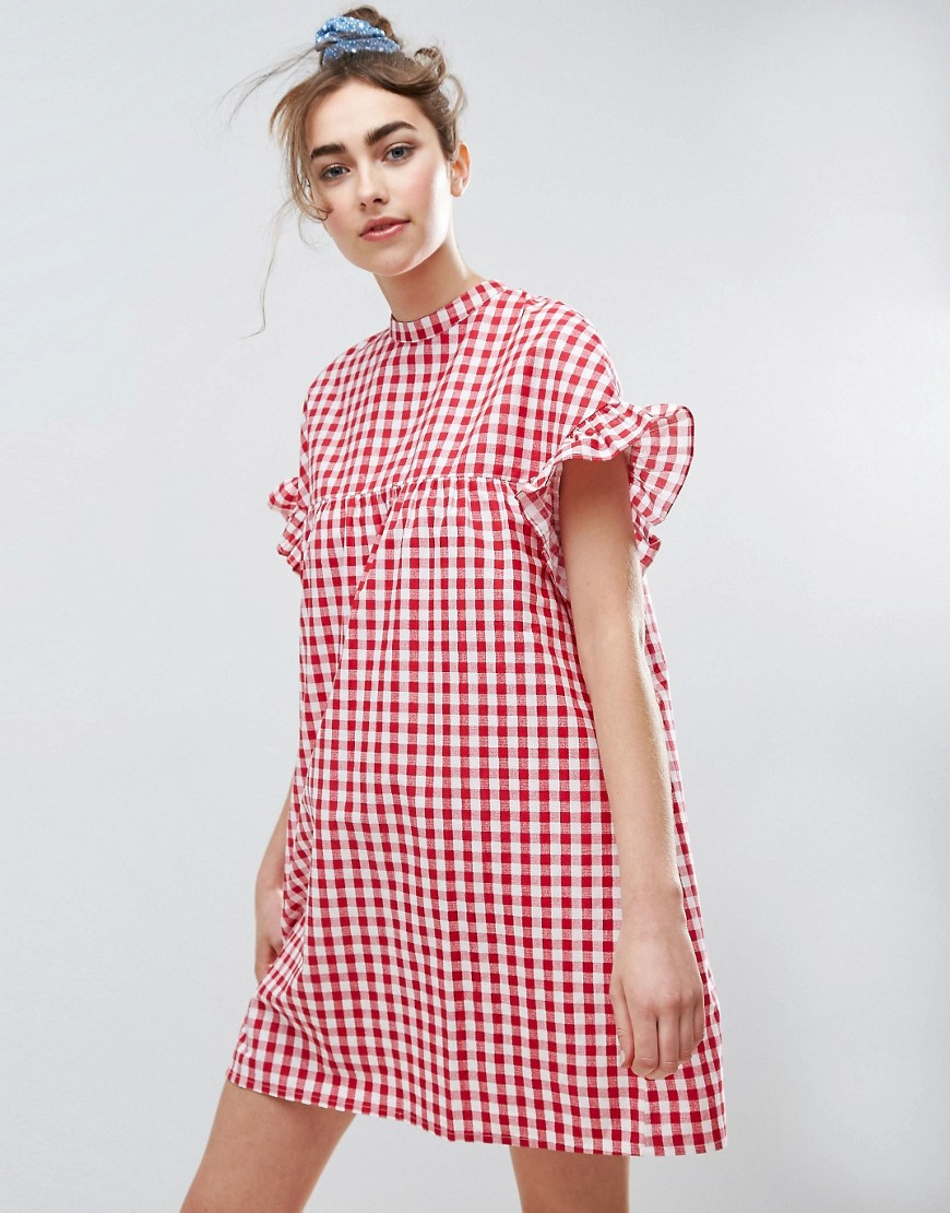ASOS Red Gingham Smock Dress - Multi