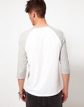 Image 2 of ASOS 3/4 Sleeve T-Shirt With Contrast Sleeves And Eagle Print