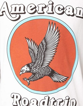Image 3 of ASOS 3/4 Sleeve T-Shirt With Contrast Sleeves And Eagle Print