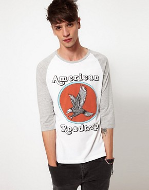 Image 1 of ASOS 3/4 Sleeve T-Shirt With Contrast Sleeves And Eagle Print
