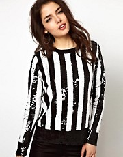 ASOS Top with Long Sleeves in Embellished Stripe