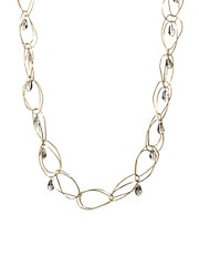 French Connection Organic Irregular Hoop And Bead Long Rope Necklace