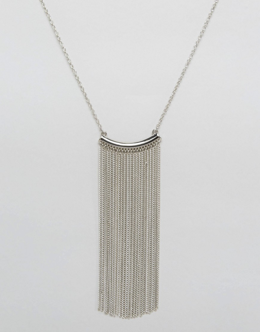 Nylon Fringe Drop Festival Necklace - Silver