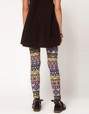 Image 2 ofASOS Leggings in Ombre Aztec Print