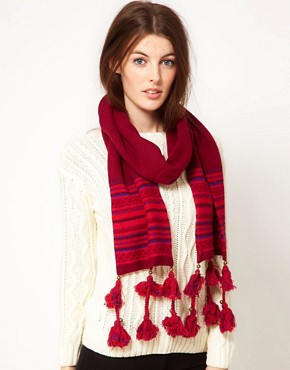 Image 1 ofAlice Hannah Angora &amp; Lambswool Blend Aztec Scarf With Tassels