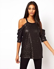 ASOS T-Shirt in Sequin with Cold Shoulder