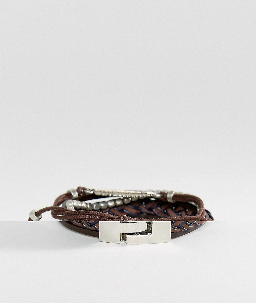 Набор браслетов в коричневой цветовой гамме ASOS DESIGN - Коричневый