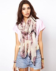 ASOS Floral Skull Print Scarf With Pom