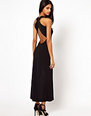 John Zack Maxi Dress with Thigh Cut Out and Cross Back