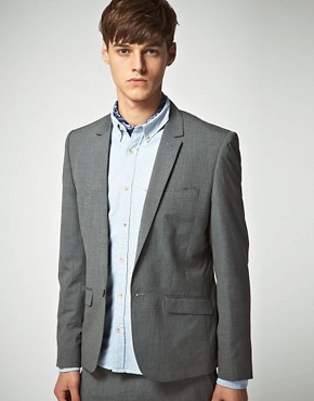 Image 1 ofASOS Slim Fit Grey Suit Jacket