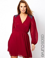 ASOS CURVE Wrap Dress With Embellished Shoulder