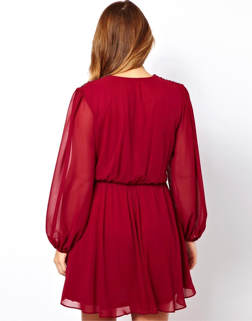 Image 2 ofASOS CURVE Wrap Dress With Embellished Shoulder