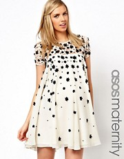ASOS Maternity Exclusive Swing Dress with Floral Applique and Cap Sleeve