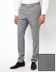 ASOS Skinny Fit Suit Trousers in Herringbone