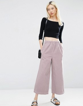 ASOS Pull-On Wide Leg Trouser in Dusty Pink Cord