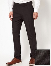 ASOS Slim Fit Smart Trousers In Grey Dogstooth