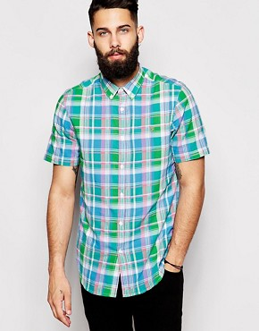 Farah Shirt with Madras Check Slim Fit Short Sleeves