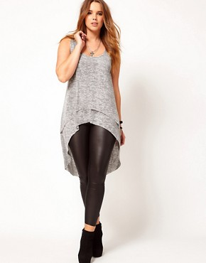 Image 4 ofASOS CURVE Exclusive Dip Back Top With Double Layer