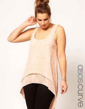 Image 1 ofASOS CURVE Exclusive Dip Back Top With Double Layer