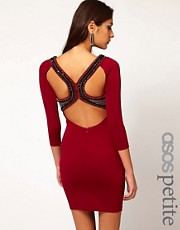 ASOS PETITE Exclusive Dress With Baroque Embellished Cut Out Back