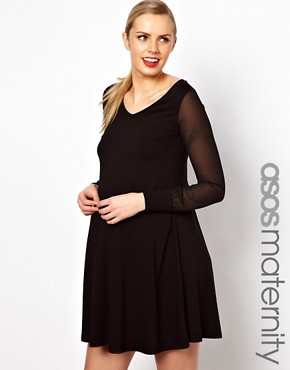 Image 1 ofASOS Maternity Swing Dress With Chiffon Sleeves