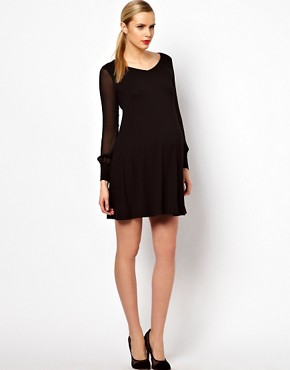 Image 4 ofASOS Maternity Swing Dress With Chiffon Sleeves