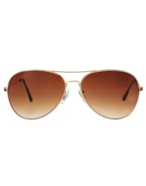 Image 1 of ASOS Gold Aviator Sunglasses