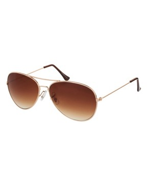 Image 2 of ASOS Gold Aviator Sunglasses