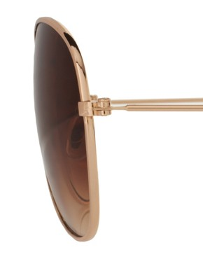 Image 4 of ASOS Gold Aviator Sunglasses