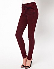 ASOS Ridley Supersoft High Waisted Ultra Skinny Jeans in Oxblood Acid Wash