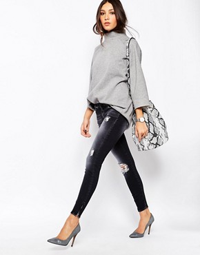 7 For All Mankind Skinny Cropped Jeans With All Over Distressing & Ripped Knees