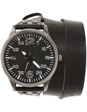 Image 2 of ASOS Black Wrap Around Leather Watch