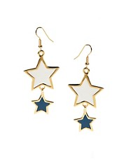 Kenneth Jay Lane Double Star Drop Earrings