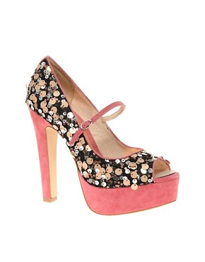 Image 1 ofASOS PEPPER Sequin and Suede Platform Peep Toe Court Shoe