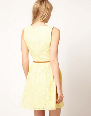 Image 2 ofOasis Lace Skater Dress With V-Neck