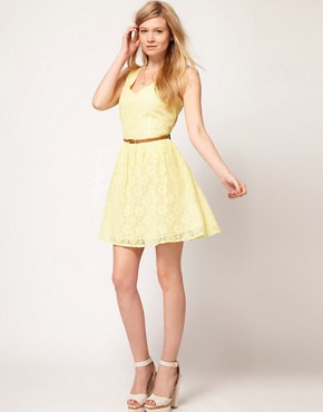 Image 4 ofOasis Lace Skater Dress With V-Neck