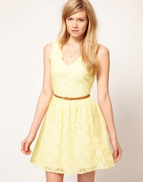 Image 1 ofOasis Lace Skater Dress With V-Neck