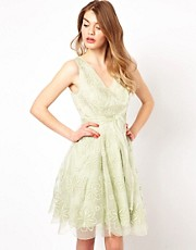 Ted Baker Prom Dress in Broderie with Bow Belt
