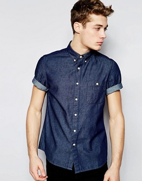 ASOS Denim Shirt In Short Sleeve With Rinse Wash