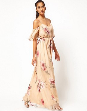 Image 1 ofJarlo Cut Out Shoulder Floral Maxi Dress with Belt