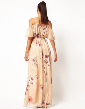 Image 2 ofJarlo Cut Out Shoulder Floral Maxi Dress with Belt