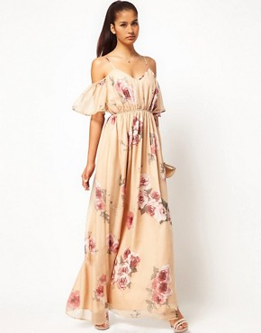 Image 4 ofJarlo Cut Out Shoulder Floral Maxi Dress with Belt