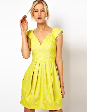 Image 1 ofASOS Lace Skater Dress With Sexy Neck