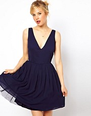 ASOS Deep Plunge Skater In Plain
